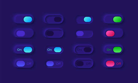 Power on and off UI elements kit. Turn slider. Switch buttons isolated vector icon, bar and dashboard template. Web design widget collection for mobile application with dark theme interface