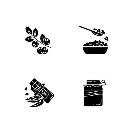 Healthy vegetarian meals black glyph icons set on white space. Organic berries types. Tasty dark chocolate. Kombucha drink creation. Silhouette symbols. Vector isolated illustration