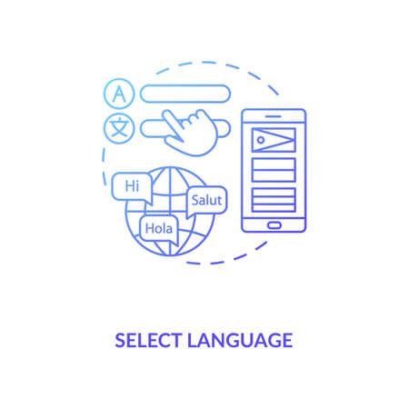 Select language concept icon. Setup instruction idea thin line illustration. Change language preference. Smartphone settings. Keyboard input. Vector isolated outline RGB color drawing Vektoros illusztráció
