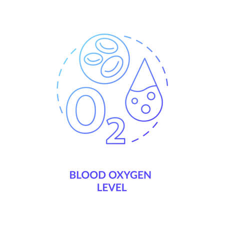 Blood oxygen level concept icon. Wearable technology feature idea thin line illustration. Pulse oximeter sensor. Estimation oxygen amount. SpO2 monitoring. Vector isolated outline RGB color drawing
