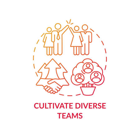 Cultivate diverse teams concept icon. Gender diversity implementation tutorials. Best skills for organization crew idea thin line illustration. Vector isolated outline RGB color drawing Illustration