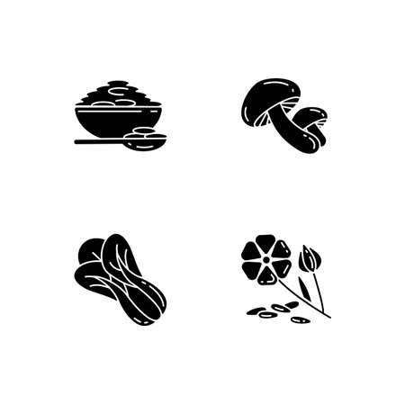 Healthy grains black glyph icons set on white space. Organic shiitake mushrooms. Eco seed meal ingredients. Natural grains variety. Silhouette symbols. Vector isolated illustration