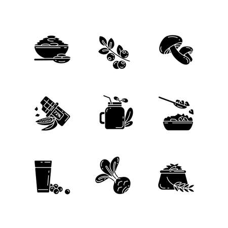 Vegetarian meals black glyph icons set on white space. Healthy grain foods variety. Organic foods ingredients. Tasty eco drinks. Superfoods kinds. Silhouette symbols. Vector isolated illustration Illustration