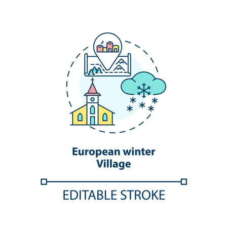 European winter village concept icon. Winter vacation destination idea thin line illustration. Christmas idyllic town in Europe. Vector isolated outline RGB color drawing. Editable stroke