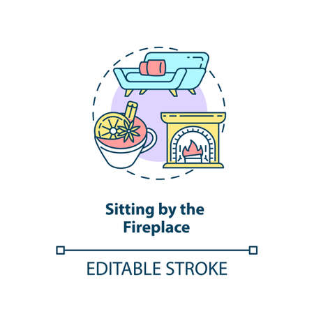 Sitting by fireplace concept icon. Hygge lifestyle idea thin line illustration. Seeking comfort during winter. Crackling wood fire. Vector isolated outline RGB color drawing. Editable stroke