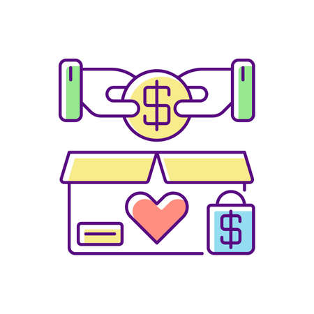 Charity shop RGB color icon. Charitable sale, nonprofit organization. Collecting money for social causes. Voluntary financial support. Isolated vector illustration