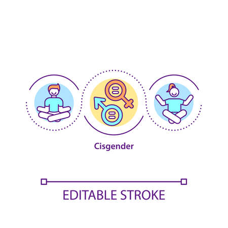 Cisgender concept icon. Biological man. Female from birth. Human and identity. Gender issues idea thin line illustration. Vector isolated outline RGB color drawing. Editable stroke