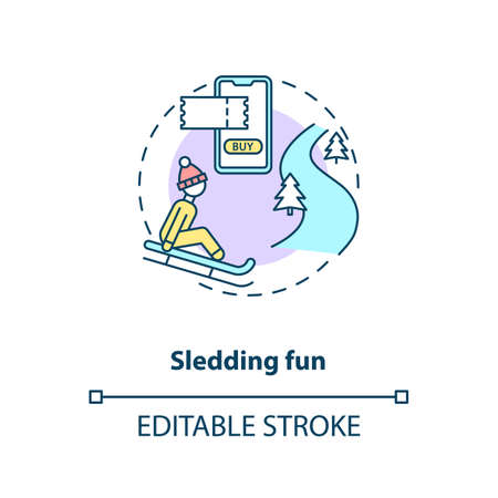 Sledding fun concept icon. Hygge lifestyle idea thin line illustration. Winter outdoor activity. Enjoying life simple pleasures. Vector isolated outline RGB color drawing. Editable stroke