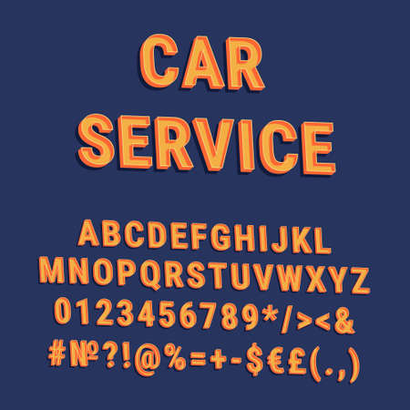 Car service vintage 3d vector alphabet set. Retro bold font, typeface. Pop art stylized lettering. Old school style letters, numbers, symbols pack. 90s, 80s creative typeset design template
