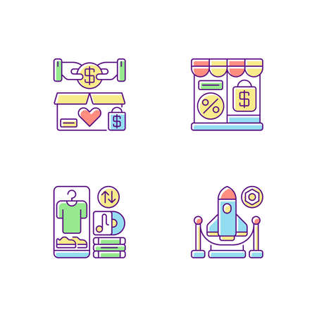 Trading RGB color icons set. Charity shop, outlet store, swap meet and exhibition. Charitable and commercial shopping, retail types. Isolated vector illustrationss