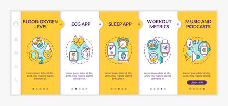 Smartwatch functions onboarding vector template. Blood oxygen level. Sleep app. Music player. Responsive mobile website with icons. Webpage walkthrough step screens. RGB color concept