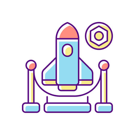 Expo RGB color icon. Trade fair, exhibition. Business event showcasing newest products and technologies. Aerospace industry trade show. Isolated vector illustration