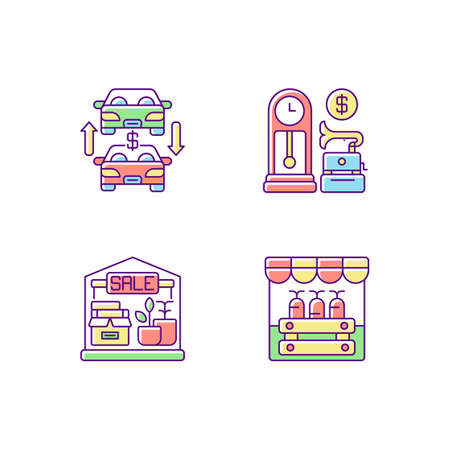 Flea market RGB color icons set. Antique store, auto trade, garage sale and public market. Selling old and second hand products. Isolated vector illustrations 向量圖像