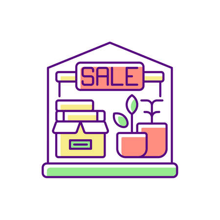 Garage sale RGB color icon. Local flea market. Selling second hand and used goods at low price. Street sale. Junk shop with cheap items. Isolated vector illustration 向量圖像