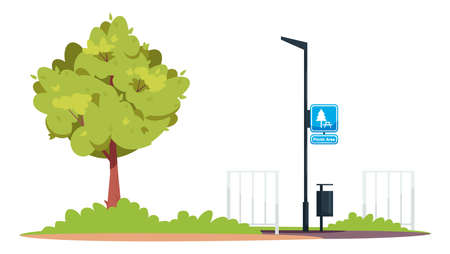 Picnic area semi flat RGB color vector illustration. Green park. Lamppost with sign on it. Chilling after hard film work day. Filming team resting place isolated cartoon scenery on white background