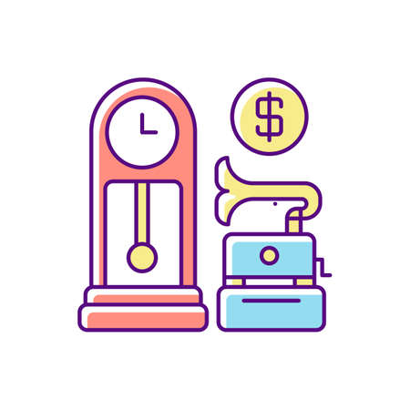 Antique store RGB color icon. Rare and vintage goods sale. Retail business, consumerism. Business of buying and reselling retro items. Isolated vector illustration