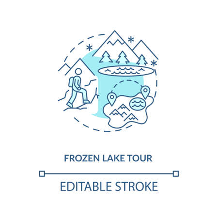 Frozen lake tour concept icon. Winter vacation destination idea thin line illustration. Beautiful winter sceneries. Pristine forests. Vector isolated outline RGB color drawing. Editable stroke