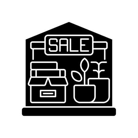 Garage sale black glyph icon. Local flea market. Selling second hand and used goods at low price. Street sale silhouette symbol on white space. Junk shop with cheap items. Vector isolated illustration 向量圖像