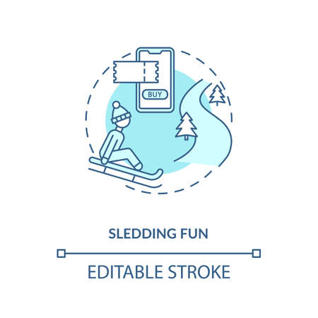 Sledding fun concept icon. Hygge lifestyle idea thin line illustration. Sleighing. Winter sport. Recreational seasonal pastime. Vector isolated outline RGB color drawing. Editable stroke Vector Illustratie