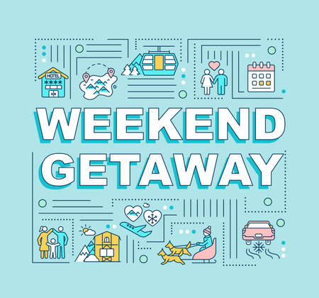 Weekend getaway word concepts banner. Spending holiday together. Infographics with linear icons on purple background. Isolated typography. Vector outline RGB color illustration
