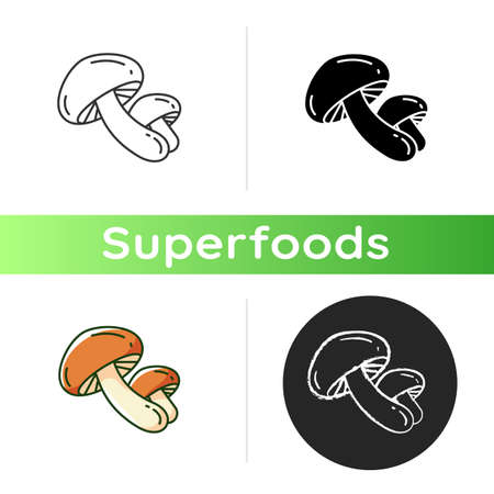 Shiitake mushrooms icon. Organic foods components. Eco meal preparation. Healthy ingredients ideas. Superfood variety. Linear black and RGB color styles. Isolated vector illustrations