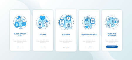 Smart watch functions onboarding mobile app page screen with concepts. Oxygen saturation, ECG app walkthrough 5 steps graphic instructions. UI vector template with RGB color illustrations 向量圖像