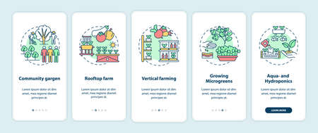 Urban farming onboarding mobile app page screen with concepts. Community gargen. Rooftop farm walkthrough 5 steps graphic instructions. UI vector template with RGB color illustrations