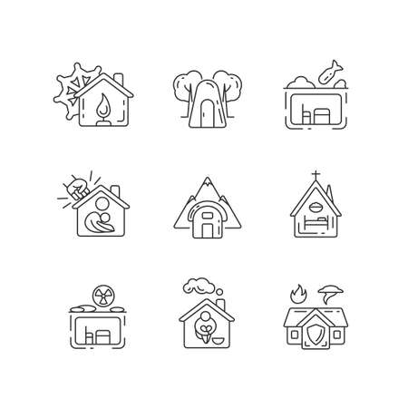 Human shelters linear icons set. Temporary residence. Night time shelter opportunity. Warming center. Customizable thin line contour symbols. Isolated vector outline illustrations. Editable stroke