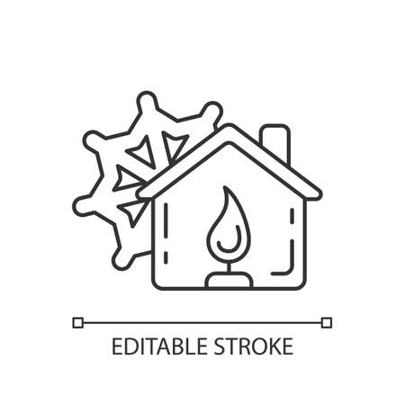 Warming center linear icon. Short-term emergency shelter. Death and injury prevention. Thin line customizable illustration. Contour symbol. Vector isolated outline drawing. Editable stroke