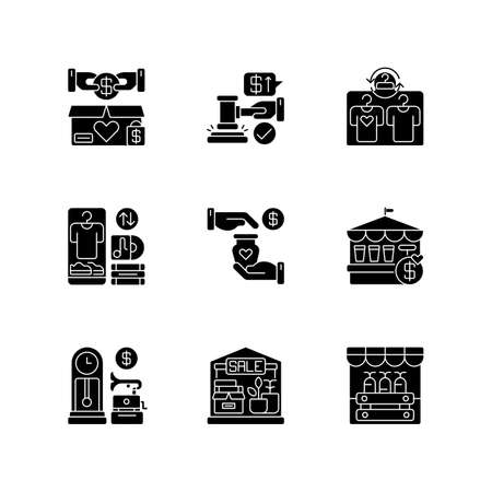 Sale black glyph icons set on white space. Marketplaces and trading events silhouette symbols. Buying goods at affordable prices. Charitable and commercial business. Vector isolated illustrations