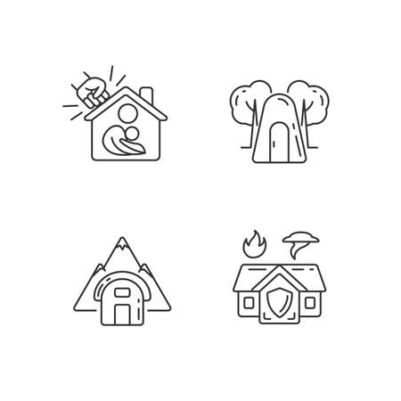 Temporary safe residence linear icons set. Violence victims support. Single-person air raid shelter. Customizable thin line contour symbols. Isolated vector outline illustrations. Editable stroke