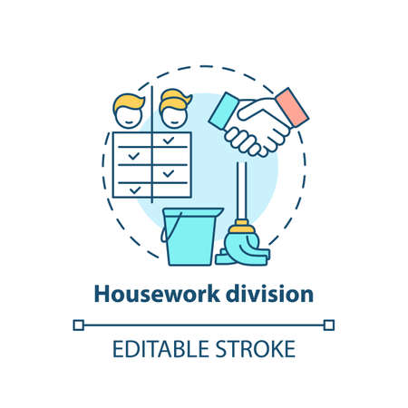 Housework division concept icon. Changing gender roles. Home duty types. Cleaning responsibilities idea thin line illustration. Vector isolated outline RGB color drawing. Editable stroke