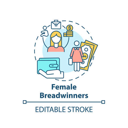 Female breadwinners concept icon. Changing gender roles. Woman only working life. Girl money earning idea thin line illustration. Vector isolated outline RGB color drawing. Editable stroke