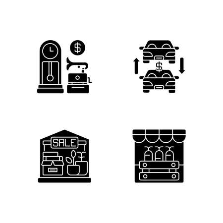 Flea market black glyph icons set on white space. Antique store, auto trade, garage sale and public market silhouette symbols. Selling old and second hand products. Vector isolated illustrations