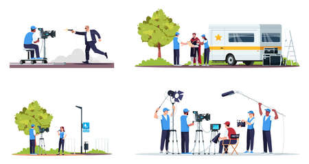 Movie creation semi flat RGB color vector illustration set. Innovation special effects in action films collection. Filming equipment. Professional crew isolated cartoon character on white background