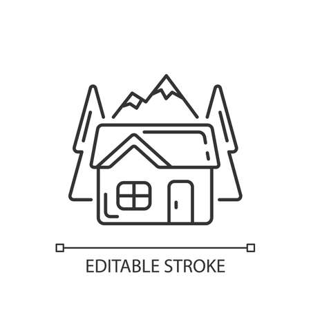 Bothy linear icon. Mountain cabin. Wilderness hut. Hiking and mountain recreation. Eco-cabin. Thin line customizable illustration. Contour symbol. Vector isolated outline drawing. Editable stroke