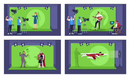 Special effects semi flat vector illustration set. Inovational futuristic movie filming technologies collection. Perfect directing. Green screen inovation 2D cartoon characters for commercial use