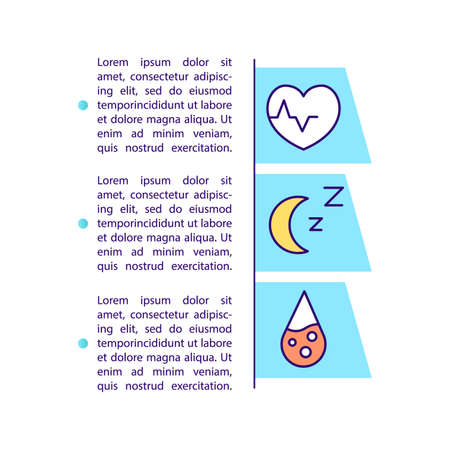 Tracking sleep trends concept icon with text. Regular bedtime routine. Heartbeat and blood oxygen level. PPT page vector template. Brochure, magazine, booklet design element with linear illustrations 向量圖像