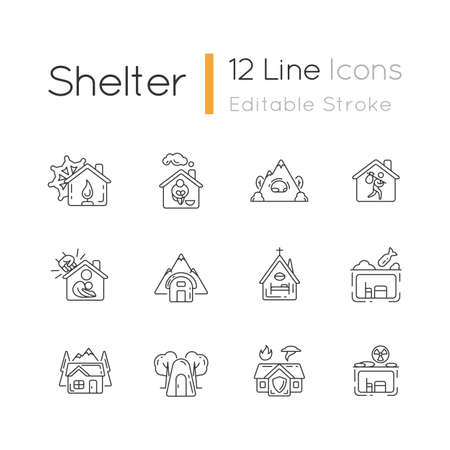 Shelters types linear icons set. Building. Safety and retreat place. Transitional shelter. Customizable thin line contour symbols. Isolated vector outline illustrations. Editable stroke