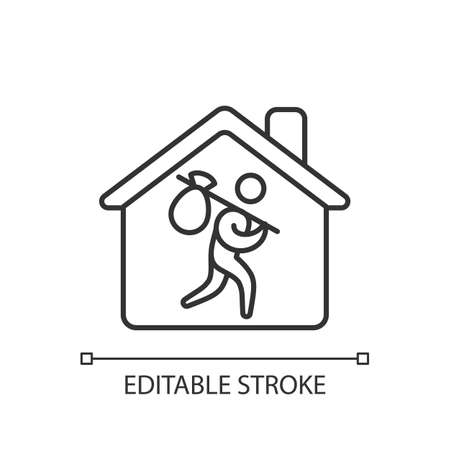Refugee shelter linear icon. Temporary tent accommodation. Transitional shelter. Tent city. Thin line customizable illustration. Contour symbol. Vector isolated outline drawing. Editable stroke