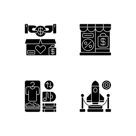 Trading black glyph icons set on white space. Charity shop, outlet store, swap meet and exhibition silhouette symbols. Charitable and commercial shopping, retail types. Vector isolated illustrations