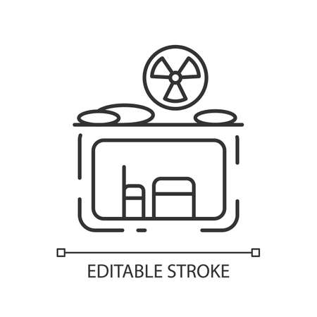 Fallout shelter linear icon. Nuclear explosion. Protection from radioactive debris. Thin line customizable illustration. Contour symbol. Vector isolated outline drawing. Editable stroke