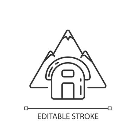 Bivouac shelter linear icon. Improvised camp site. Backpacking. Scouting. Temporary tent. Thin line customizable illustration. Contour symbol. Vector isolated outline drawing. Editable stroke