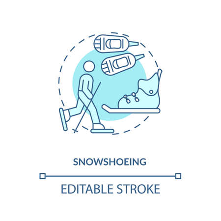Snowshoeing concept icon. Winter outdoor activity idea thin line illustration. Snowy getaway with snowshoes. Mountain activity. Workout. Vector isolated outline RGB color drawing. Editable stroke
