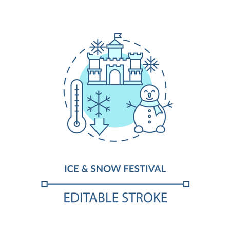 Ice and snow festival concept icon. Vacation destination idea thin line illustration. Winter wonderland. Castles and light shows. Vector isolated outline RGB color drawing. Editable stroke 向量圖像