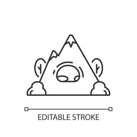 Rock shelter linear icon. Rockhouse. Crepuscular cave. Hiking. Bluff shelter. Camping. Thin line customizable illustration. Contour symbol. Vector isolated outline drawing. Editable stroke