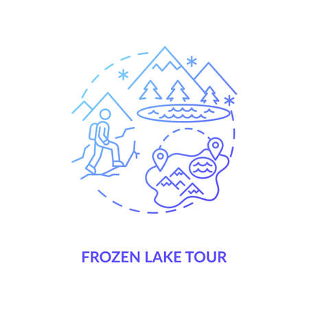 Frozen lake tour concept icon. Winter vacation destination idea thin line illustration. Ice skating. Arctic space. Ice-climbing experience. Hiking. Vector isolated outline RGB color drawing