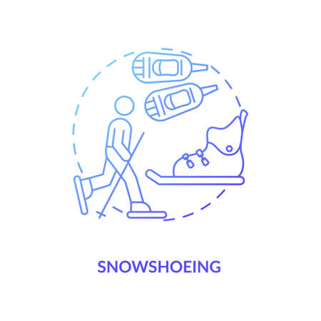 Snowshoeing concept icon. Winter outdoor activity idea thin line illustration. Cross country snowshoeing. Vacation for active travelers. Aerobic workout. Vector isolated outline RGB color drawing 일러스트