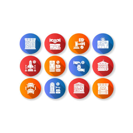 Outlet store flat design long shadow glyph icons set. Retail business, different commercial services. Discount shopping. Various sales and trading forms. Silhouette RGB color illustration
