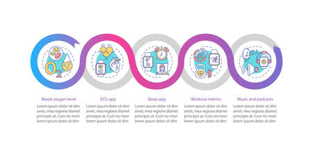 Smartwatch capabilities vector infographic template. ECG, sleep app presentation design elements. Data visualization with 5 steps. Process timeline chart. Workflow layout with linear icons
